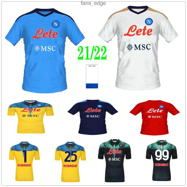 2021 2022 Napoli Futbol Formaları Koulibaly Osimhen Insigne Mertens H.Lozano Burlon Maradona Milik Özel 21 22 SSC Napoli Ev Uzakta Üçüncü Erkekler Kids Kiti Futbol Gömlek