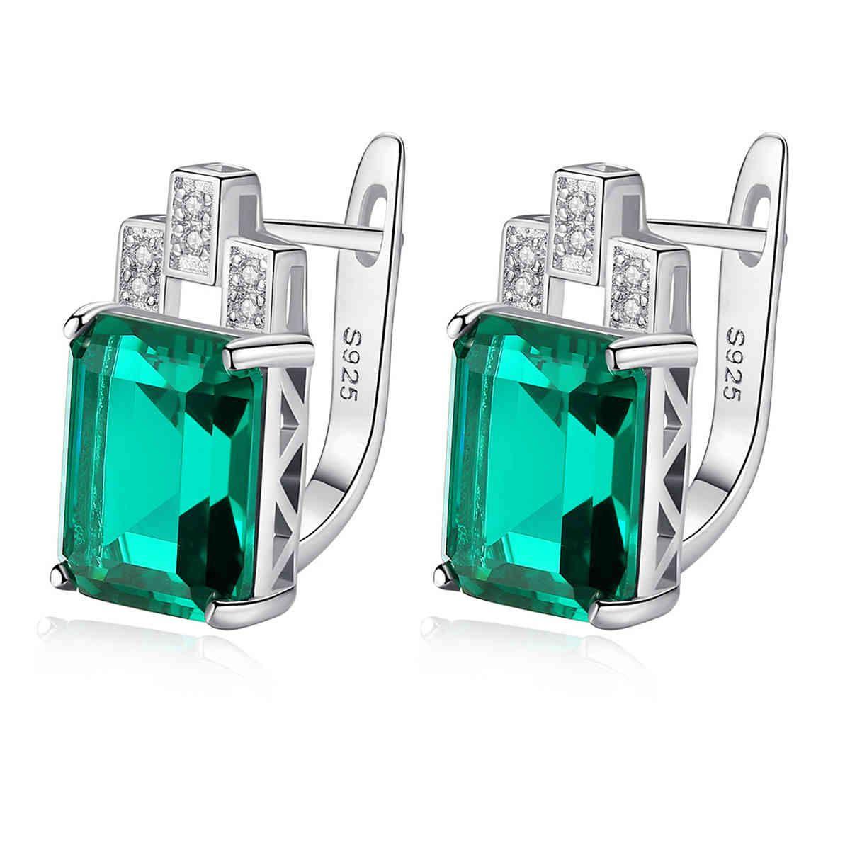 Edelstein auf Ohrringe, Luxus 7.6ct Nano Russisch simuliert Smaragd und Saphir 925 Silber Clip Ohrring Frauen Schmuck SE0110