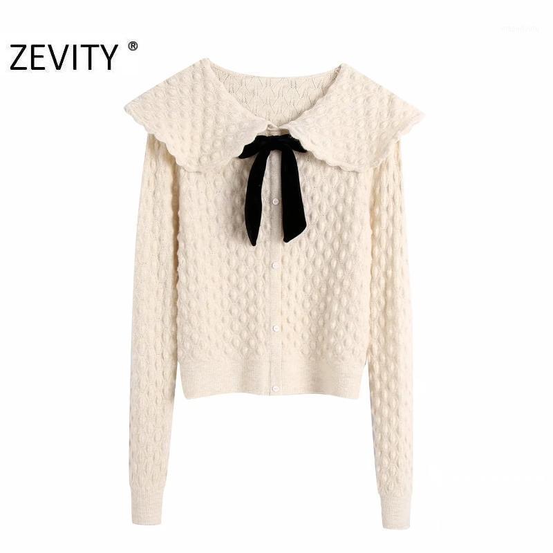 Zevity New Donne Fashion Turn Down Collar Geometric Pattern Maglieria Maglione Femmina Chic Bow Legato Petto Cardigan Top S4251