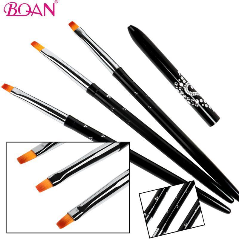 Nail Brushes BQAN #2#4#6 Art Brush Black Handle Salon Acrylic UV Gel Pen Dotting Detailing Flat Kit Tools