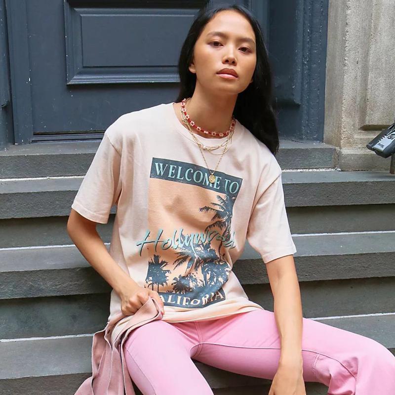 Jastie Bem-vindo a Hollywood Tee Gráfico Vintage Boho Camisas Tops O-pescoço de Manga Curta Verão Mulher Tshirts Casual Praia T-shirt das Mulheres