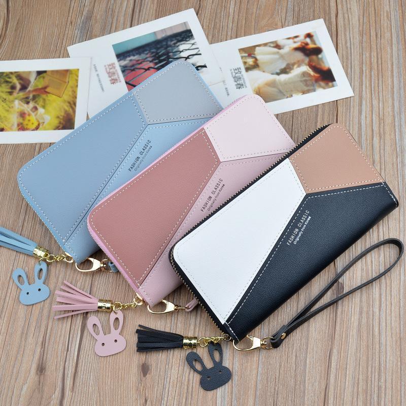 Carteras Moda para mujer sosteniendo una larga versión coreana de la cartera de costura Bolsa de tarjeta con cremallera Tasel de gran capacidad Teléfonos móviles