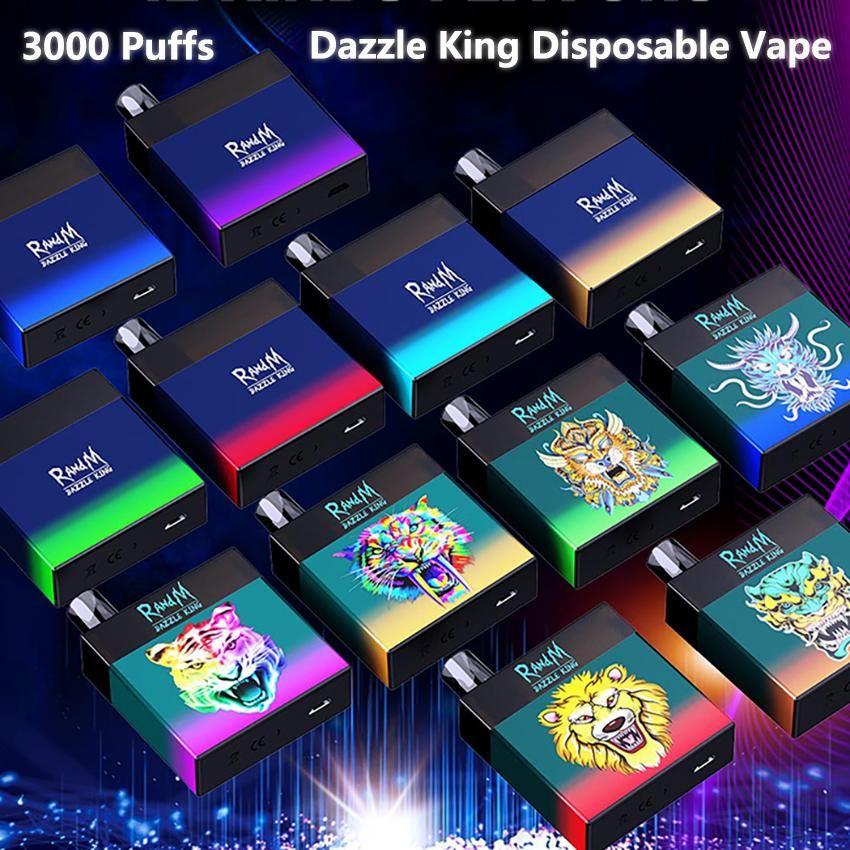 Orijinal Randm Dazzle Kral Tek Kullanımlık Cihaz Kiti 1100 mAh Pil Predded 8 ml Pods 3000 Puffs Vape Sopa Kalem Renkli LGB LED Işık Çubuğu Artı 100% Otantik