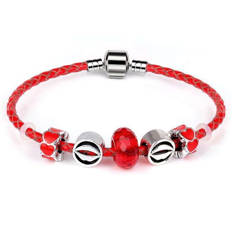 Hakiki Lether Charm Bilezik Kırmızı Cam Boncuk Ağız Kalp Bilezikler Kadınlar Için Düğün Vintage Takı Aşk Hediye Link, Zincir