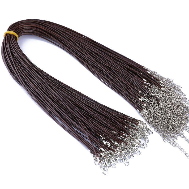 100 قطع الملونة الشمع الجلود قلادة حزام مشبك الروبيان قلادة مجوهرات جلد الحبل الحبل مع سلسلة diy 71 j2