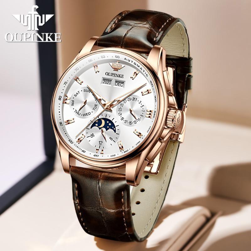 Klasik erkek saatler upinke otomatik mekanik kol su geçirmez deri kayış İsviçre hareketi lüks yüksek kaliteli saat kol saatleri