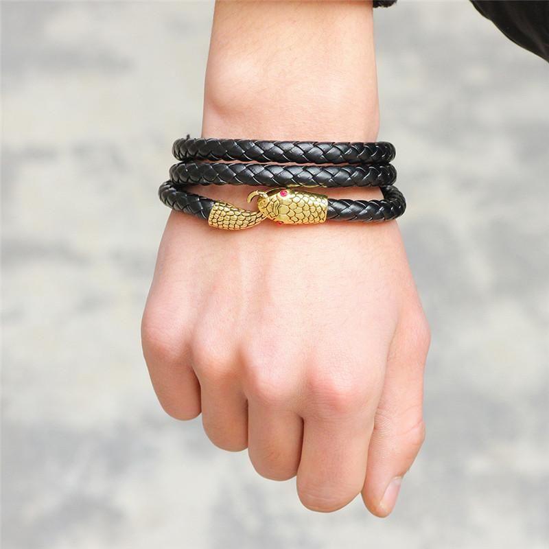 Charm Bracelets LUFANG Fashion Jewelry Trendy Multiple Ethinc Leather Bracelet Styles Multilayer Winding Snake Head For Men Women