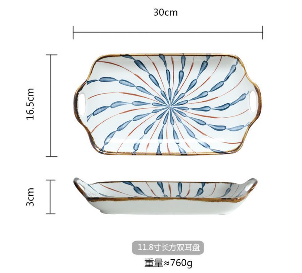 Großhandel Set von 2,11,8 Zoll, Amphora rechteckige Fischplatten, binaural rechteckige Gerichte, japanische Küche, Sushi, Getreide, Reis, Snackplatten, Salat, Dessert, Haferflocken, Teigwaren