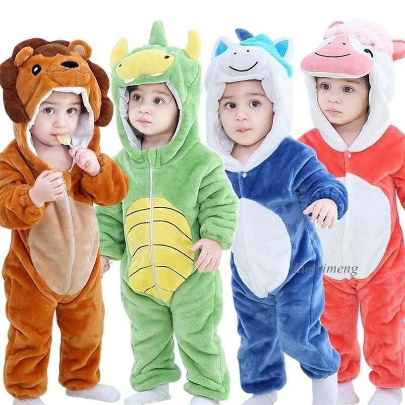 Baby Mampers Winter Kigurumi León Traje para niñas Niños Niños Niño Mono Mono Infantil Ropa infantil Pijamas Niños Overoles Ropa S 210726
