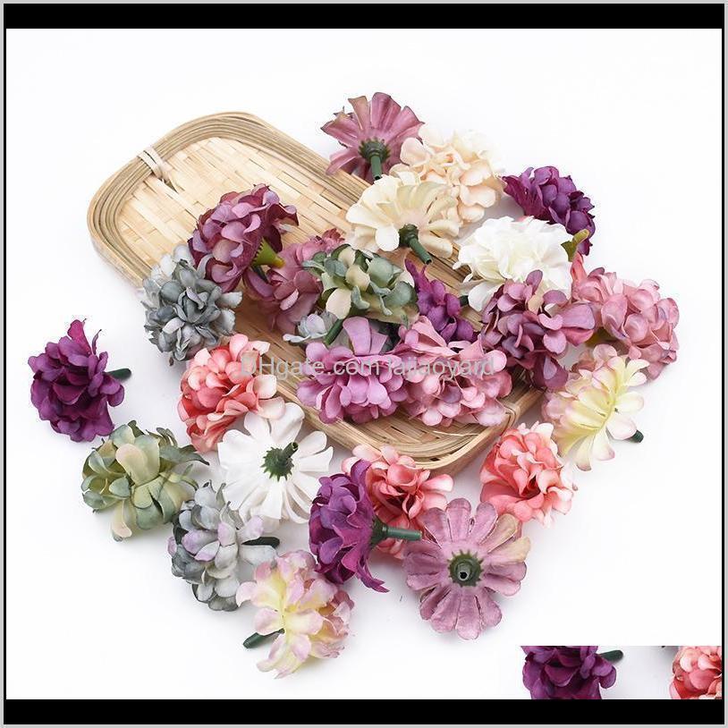 Grinaldas decorativas 10 30 Cabeça de seda Cabeça Flores Artificiais para Casa Decoração Casamento Acessórios Nupciais Clearance DIY Presentes podem Gypsb