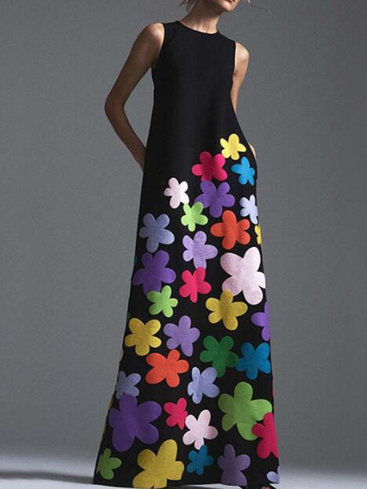 Stil Böhmische Blumendruck Lange Baumwolle Kleid Oansatz Sleeveless Große Saum Frauen Herbst Sommer Elegant Casual Produkt Kleider