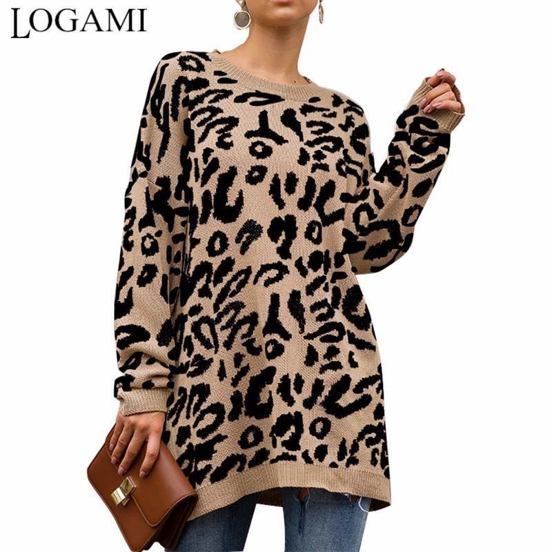 Frauenpullover Logami Vintage Dicke Leopard Gestrickte lange Pullover und Pullover Frauen Lose Lässige Herbst Winter Jumper Top Femme 2021