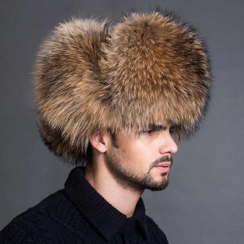 Homens de inverno 100% real de prata raposa fox aviator aviador chapéu de bombardeiro peles urshanka cap caps russo homem ski chapéus tampões de couro real