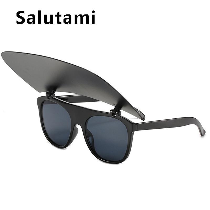 Gafas de sol de la marca de lujo única para las mujeres de una pieza de una pieza cuadrada blanca de sol negro gafas de sol hombres Hip Hop Sombrilla gafas