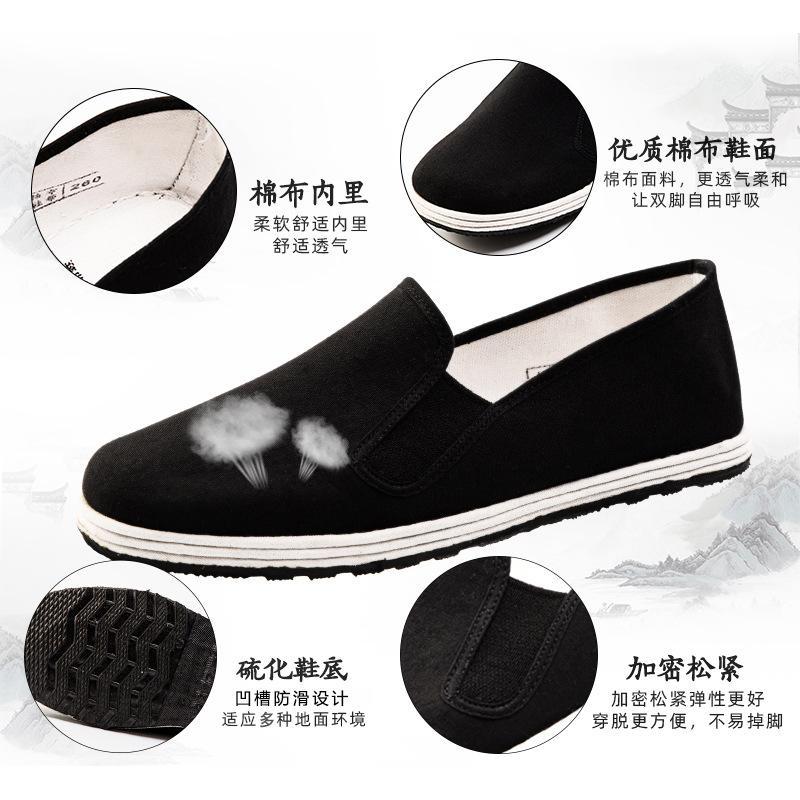 Eski Pekin bez ayakkabı erkek nefes ter emici kauçuk taban iş rahat ayakkabılar slip-on el yapımı güçlü alt siyah kumaş ayakkabı