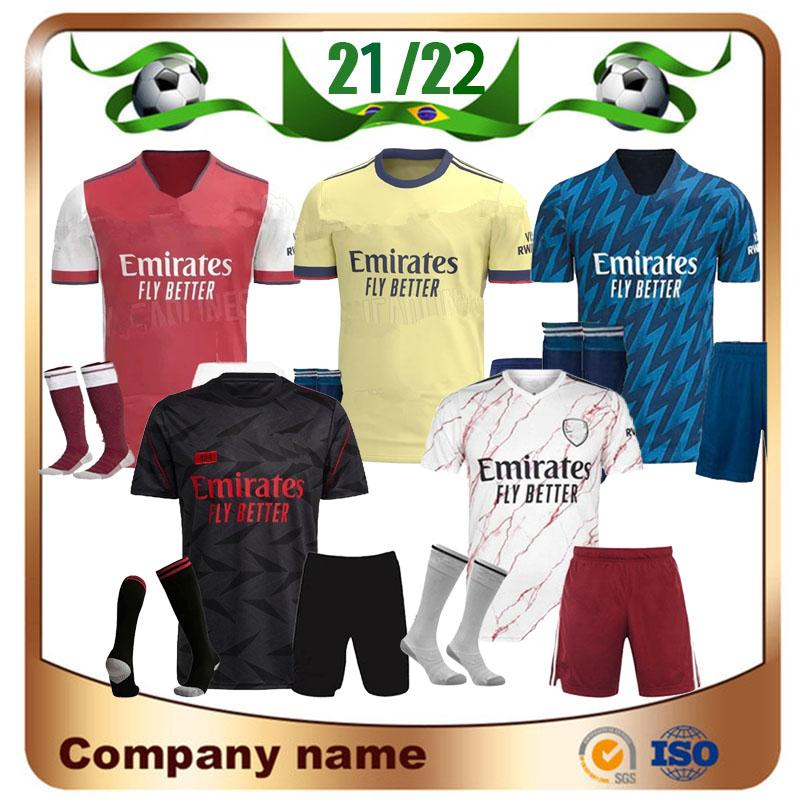 Arsen 21/22 Gunners Kit Kit de Futebol Jersey Boy Pepe Nicolas Ceballos Henry Guendouzi Sokratis Maitland-Niles Tierney Homem Criança Camisa de Futebol Set + Socks Uniformes