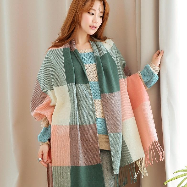 New autumn winter scarf plaid Japanese and Korean indoor warm checkered shawl Scarves