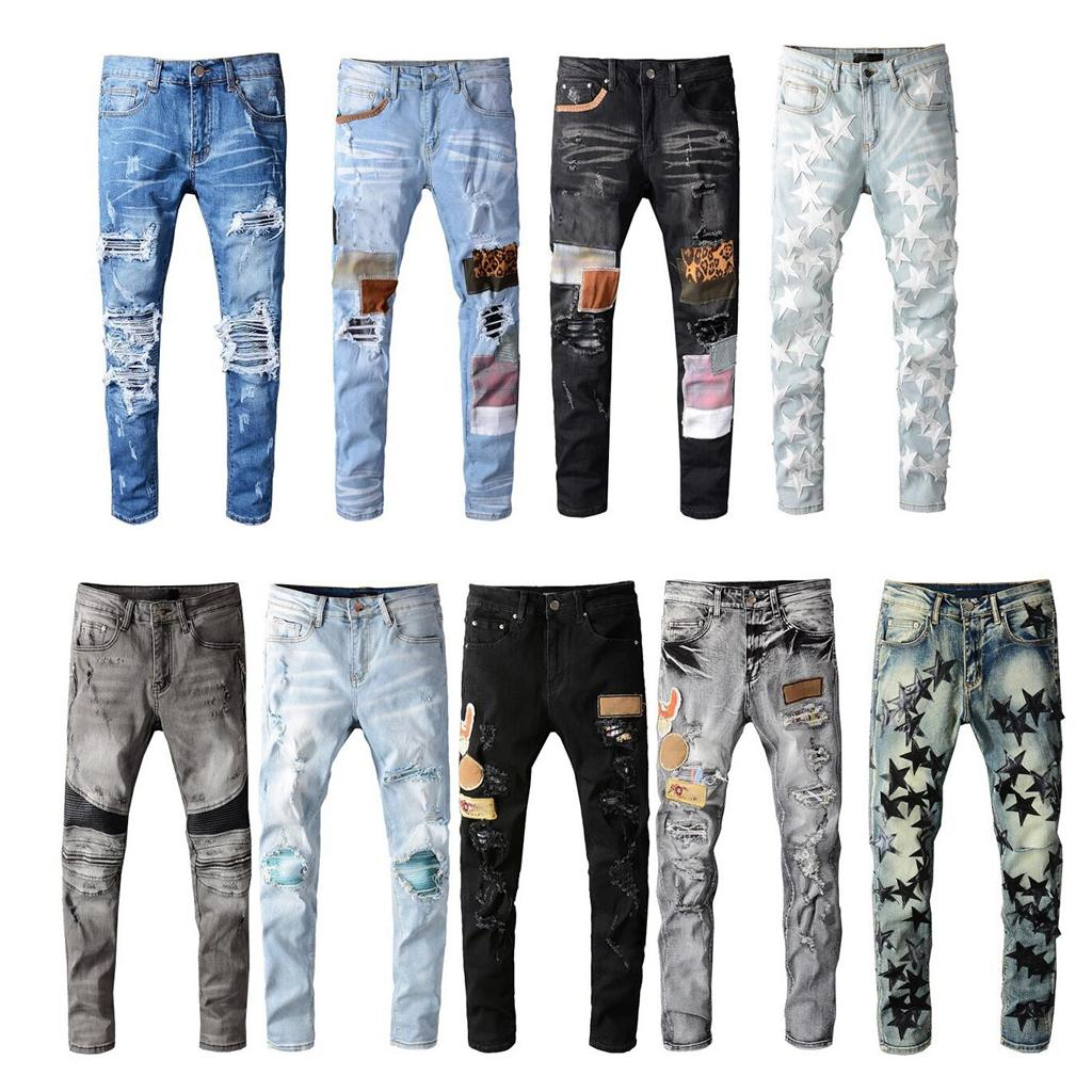 Mens Jeans Skinny Distress RIPED DISTRUTTURATO STRETTO BIKER DENIM Bianco Black Blue Slim Fit Hip Hop Pants per uomo Dimensione 28-40 Top Quality
