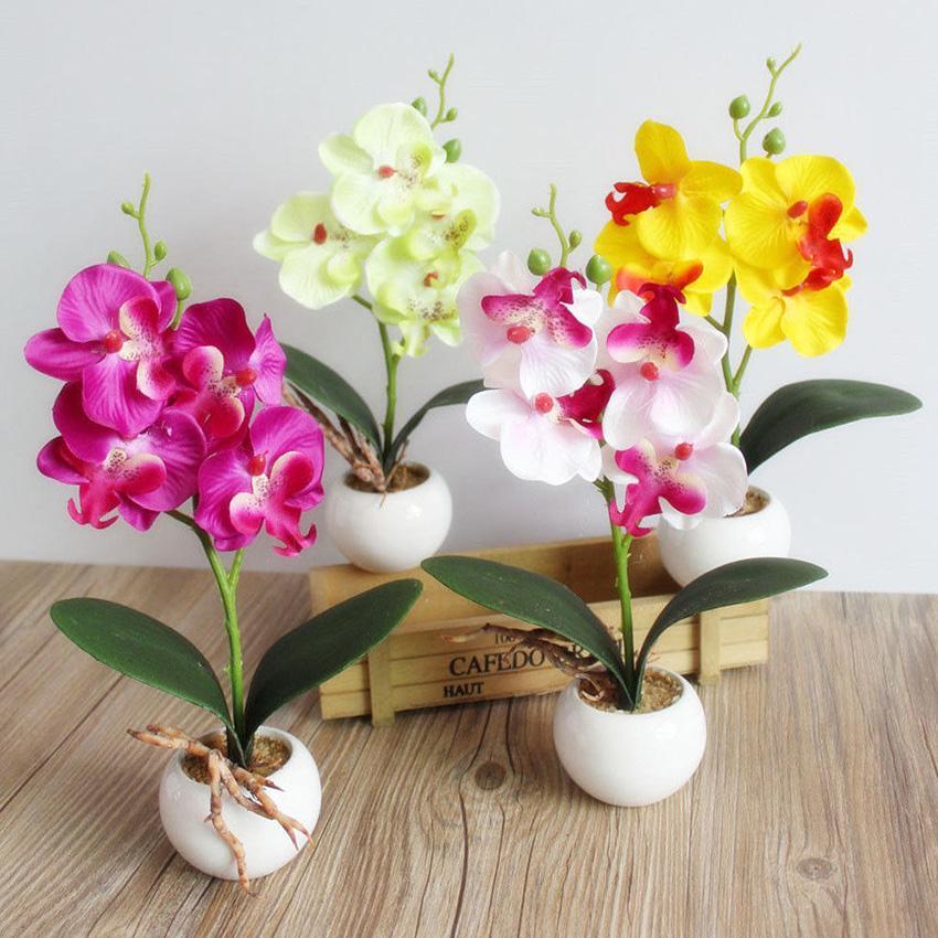 3 Heads Artificial Fake Butterfly Orchid Flower Filled Life For House Garden Wedding Decor Arrangements Flower Aesthetic Supplie