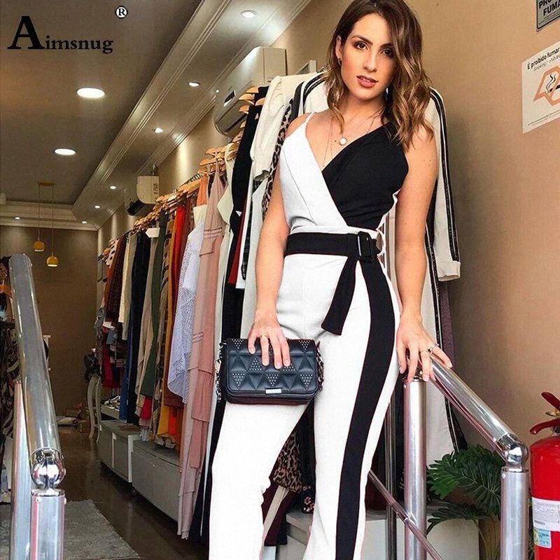 Women Office Lady Elegant Patchwork Overalls Skinny Slim Fit Deep V-Neck Sleeveless Casual Romper Belted Design Summer Jumpsuits 37qQ#