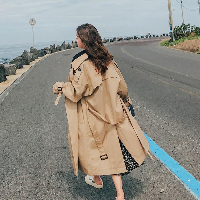 المرأة الخندق معاطف أزياء العلامة التجارية المرأة معطف طويل مزدوجة الصدر حزام الأزرق كاكي سيدة الملابس الخريف الربيع قميص تنفس الجودة