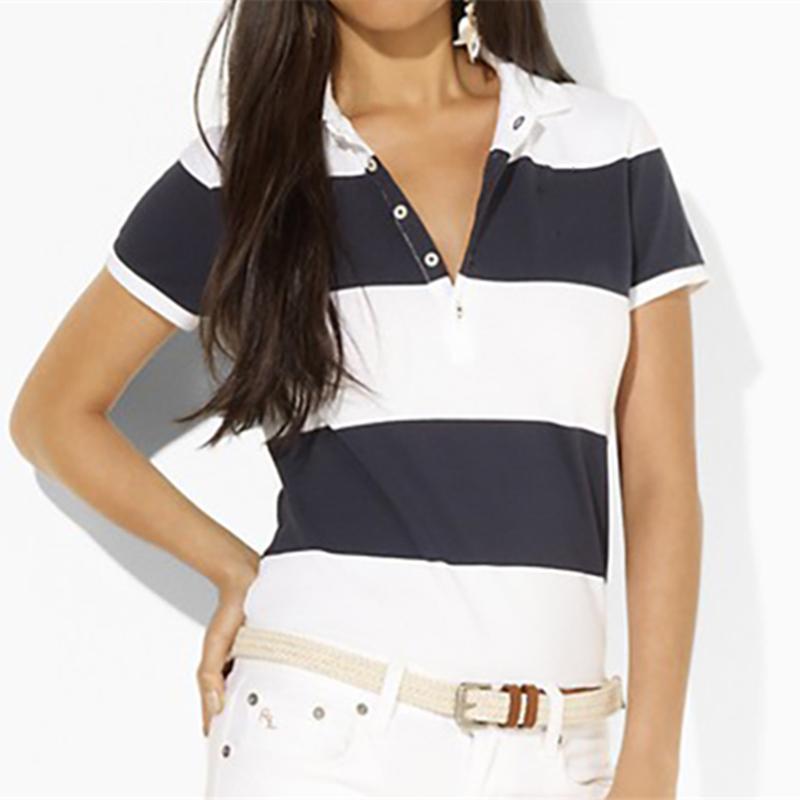 Polos da donna Stripe di alta qualità Grande piccola camicia da cavallo Abbigliamento Chemise femme casual manica corta camicie 100% cotone estate