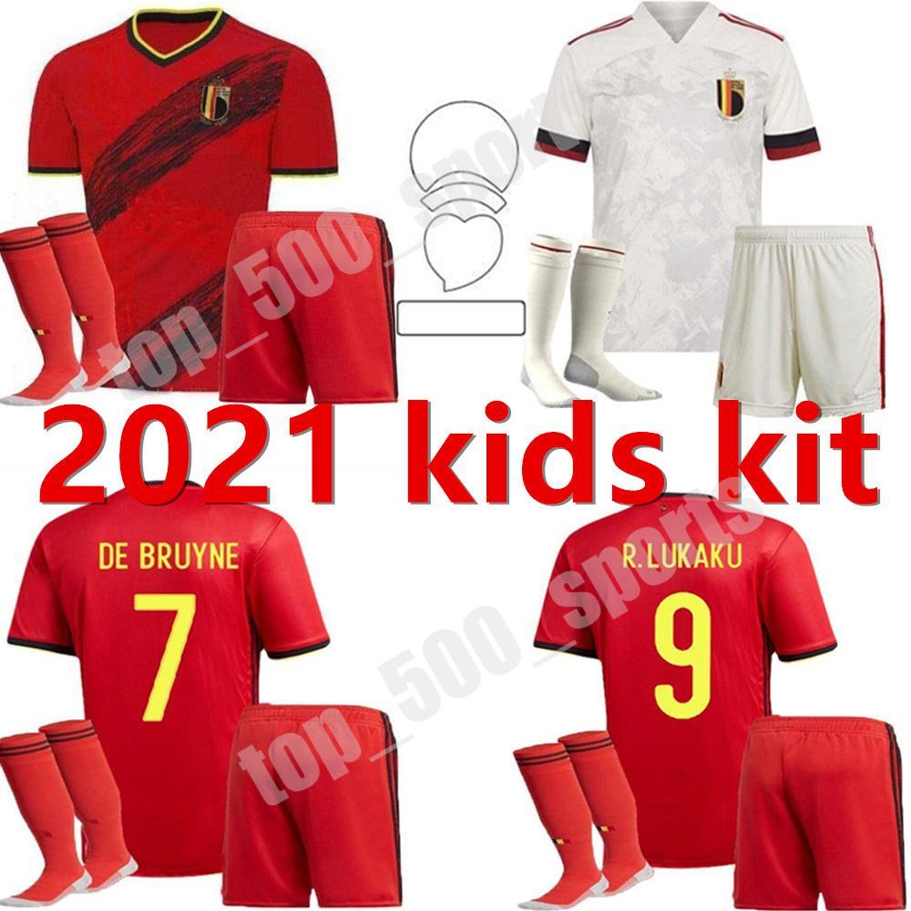 2021 유럽 컵 국가 대표팀 벨기에 키즈 축구 유니폼 홈 멀리 청소년 E.Hazard Maillot Foot Lukaku Camisetas de Bruyne child child football shirt
