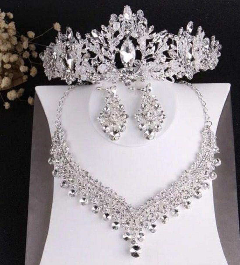 bride wedding crown necklace earrings three-piece set designer white crystal handmade fine craft