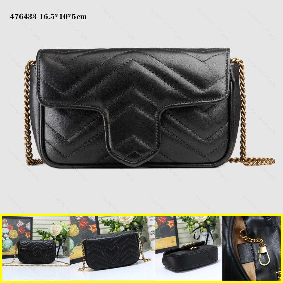 Echtes Leder Frauen Marmont Messenger Bags Geldbörse Goldkette Umhängetaschen Kreuz Körper Damen Mode Mini Bag Brieftasche 4 Farben 16,5 cm