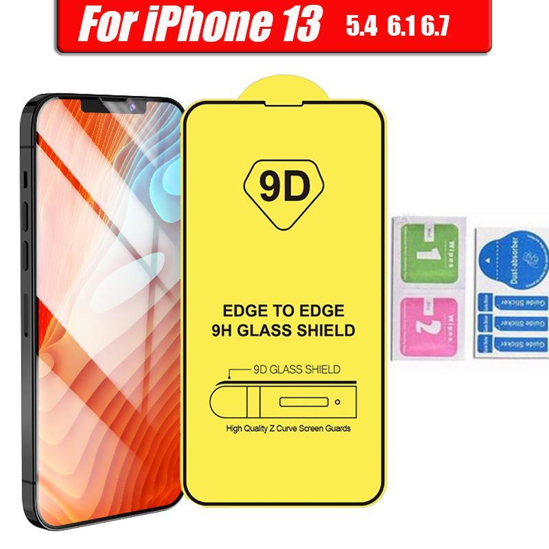9D Plein couverture Glue Glue Glass Screen Screen Screen Protector pour iPhone 13 12 Mini Pro 11 XR XS MAX 8 7 6 Samsung Galaxy S21 A32 A42 A52 A72 4G 5G A51 A71 A02S Moto g Stylus 2021