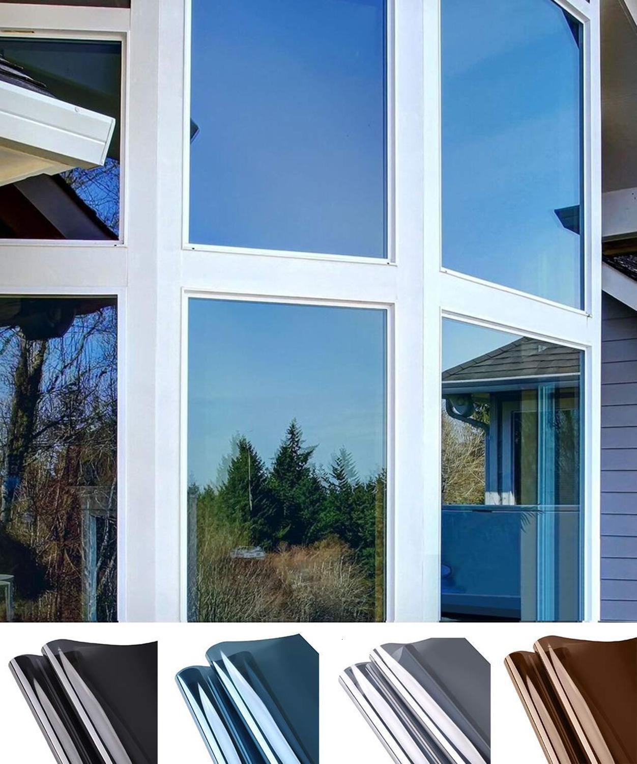 Window Privacy Film Sun Blocking Mirror Reflective Tint One Way Heat Control Vinyl Anti UV Window Stickers for Home and Office