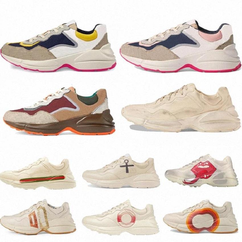 고전 가죽 스니커 즈 딸기 웨이브 입으로 신발 디자이너 신발 타이거 웹 인쇄 빈티지 트레이너 캐주얼 슈 HM011 PG01