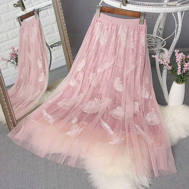 Printemps Fashion Femmes Taille haute Taille longue Jupe longue Plumes Broderie A-Line Jupes à trois couches Tissu Sweet Womens jupe maille D181 210608