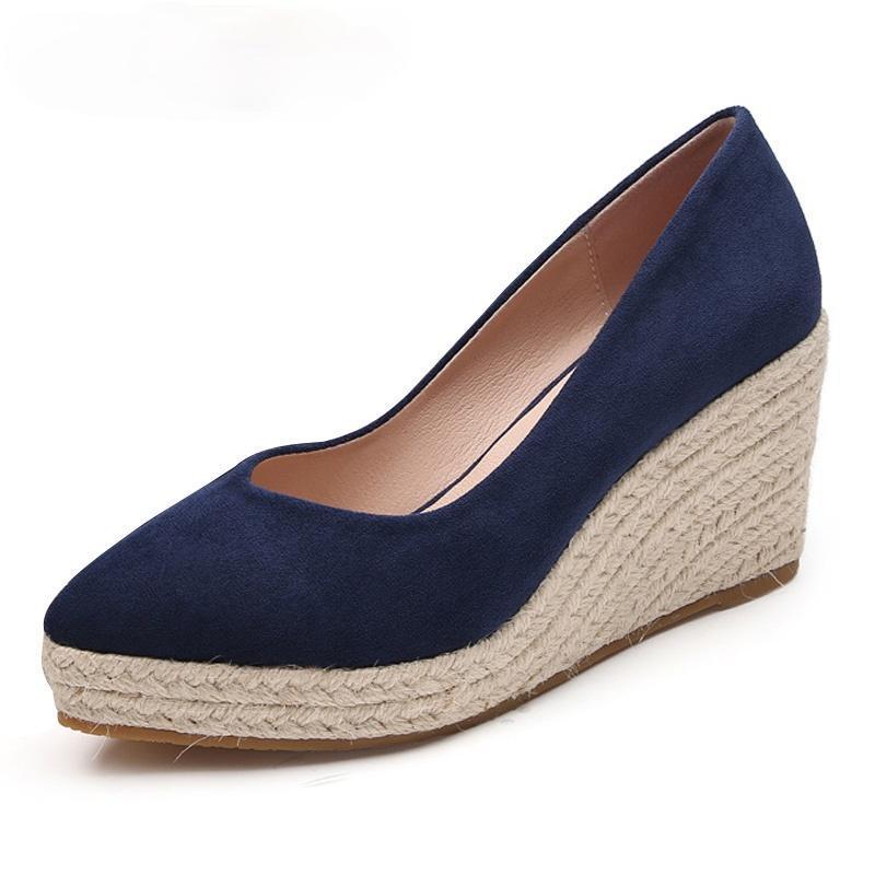 Kadın Espadrille Takozlar Rahat Ayakkabılar Bayanlar Bayan Rahat Nefes Keten Tuval Pompaları Elbise