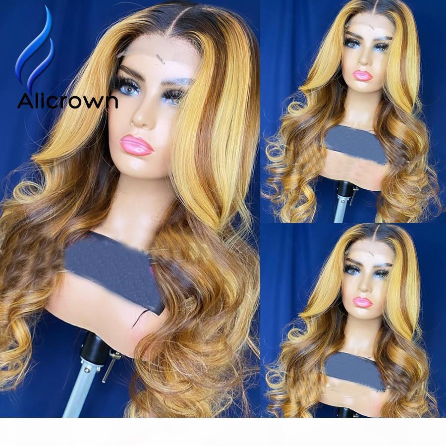 Alicrown 250% Densité 360 Perruques frontales en dentelle pour femmes brésiliennes Dentelle Front Human Cheveux Perruques Rationale Non-Rémy Ration