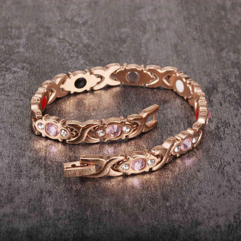 Vinterly Energy Magnetic für Frauen Gesundheit Rose Gold Farbe Armband Femme Edelstahl Kette Link Armbänder Armreifen
