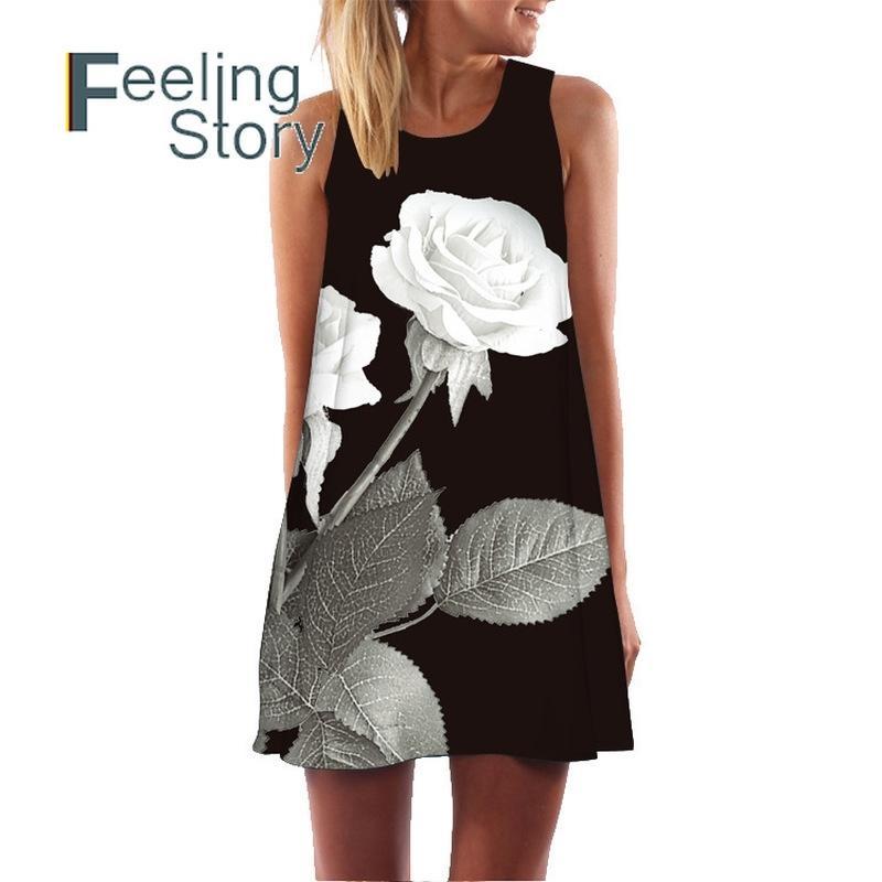 Blumendruck Chiffon Kleid Sleeveless Boho Chic Womens Sommer Es Strand Sommerkleid Casual Shift ES Vestido 210603