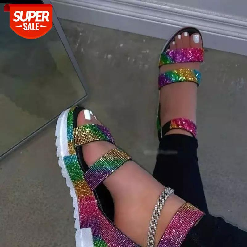 2021 Summer Peep Toe Flat Colorful Rhinestone Buckle Sandals Women's Plus Size Outer Wear Ladies Shoes and #fz7D