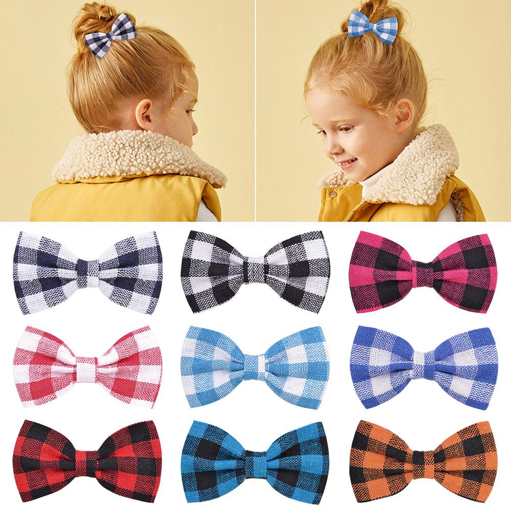 Baby Girls Barrettes Clips Kids Handmade Hairpins bow clip Hairgrips Children Princess Cute Bowknot Grid Checkered Clothing Clipper Hair Accessories KFJ315