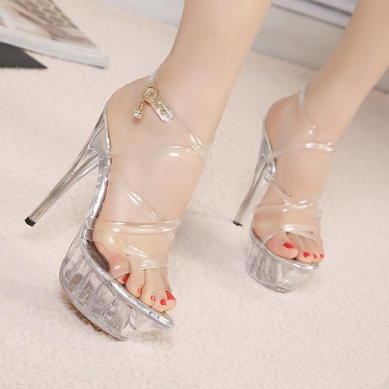 Sandalen transparente Sommerschuhe Frau Catwalk High Heels Modell 14cm Kristall Frauen Ferse G1459
