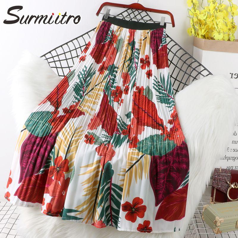 Surmiitro Çiçek Baskı Şifon Maxi Etek Kadınlar Yüksek Bel Ile 2021 İlkbahar Yaz Bayanlar Kırmızı Siyah Uzun Pileli Etek Kadın