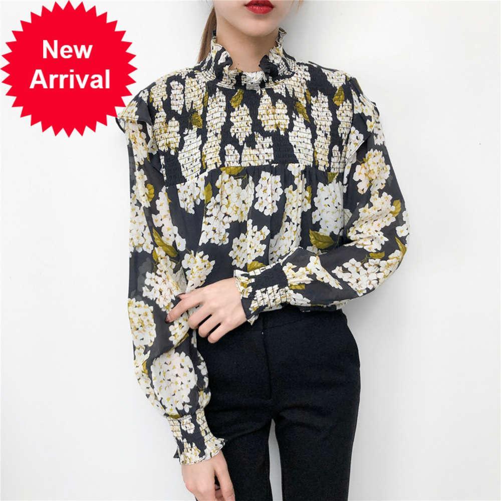 Hortensia de verano de primavera 100% seda plisada collar de manga larga camisa de manga larga