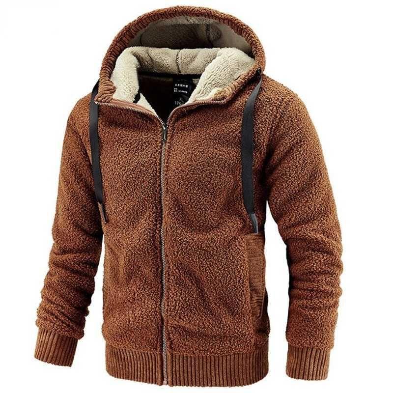 Erkek Polar Ceket Kapüşonlu Büyük Boy Kış Parka Erkekler Rüzgarlıklar Kalın Sıcak Anorak Koca Sonbahar Siyah Kürk Erkek Erkek 210927