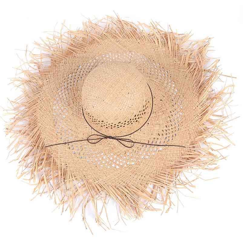 Handmade Raffia Chapéu de Palha Mulheres Verão Dobrável Dobrável Sol Chapéus Ampla Brim Senhoras Natural Rafia Panamá Panama Beach Holiday 210608