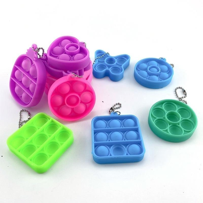 Sensory Fidget Toy Simple Dimple Key Ring Push Bubble Keychain Squeeze Finger Fun Bubble Game Squishy Stress Relief NHB6040