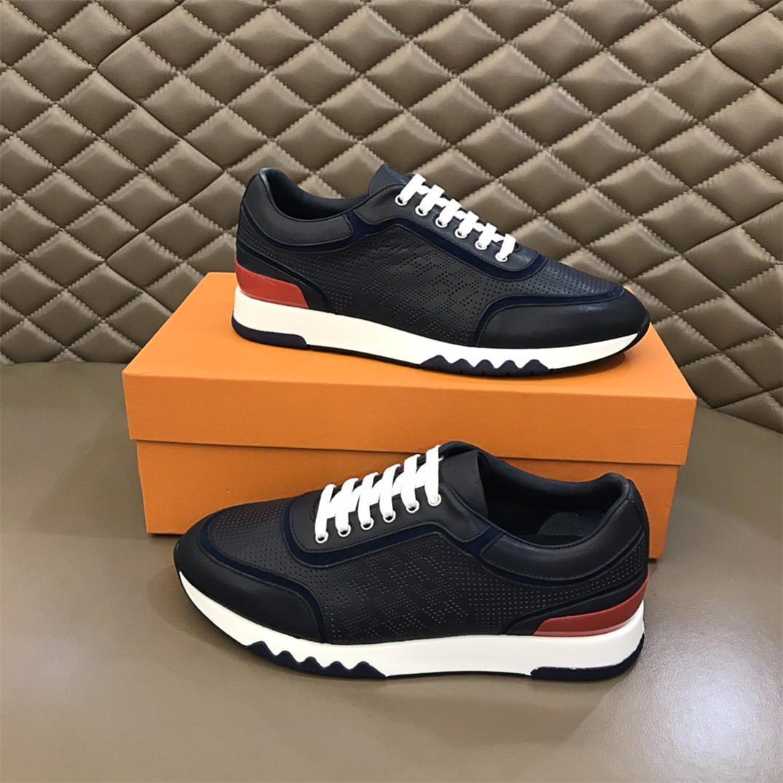2021ss En Kaliteli Casual erkek Ayakkabı Lüks Tasarımcı Sneaker Hakiki Çizgili Kauçuk OutSole Deri Sivri Koşucu Açık Havada Kutusu Ile Size38-44