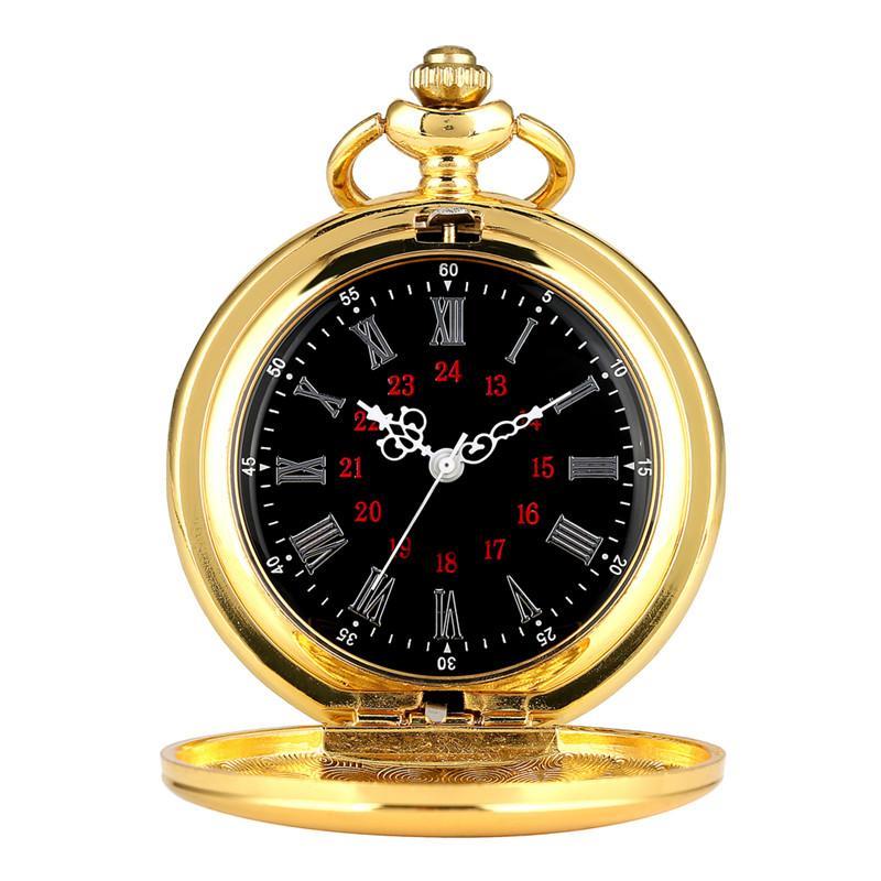 Antique Luxe Gold Smooth Case Poche Montre Vintage Quartz Montres Analoges Collier Chaîne Horloge Cadeaux Pour Hommes Femmes
