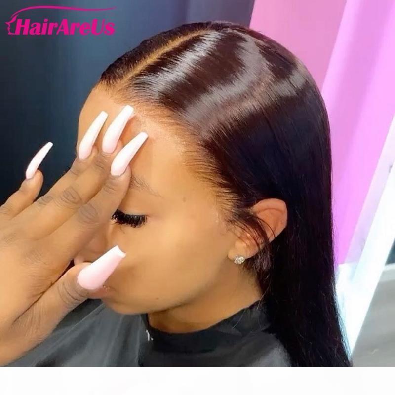 28 perruques avant de la dentelle droite de 30 pouces pré-cueillées Remy Peruvien Human Hair Perruque de fermeture de la dentelle Suisse pour femmes noires