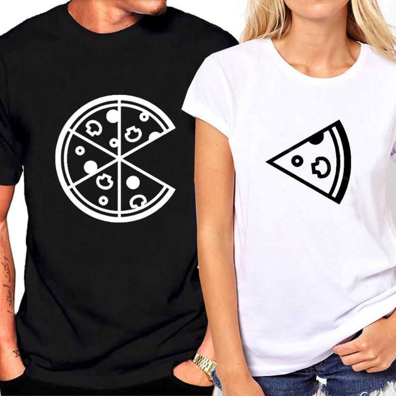 여성용 T 셔츠 도착 패션 여성과 남자 피자 프린트 하스 재미있는 T 셔츠 느슨한 여름 탑 커플 연인 티