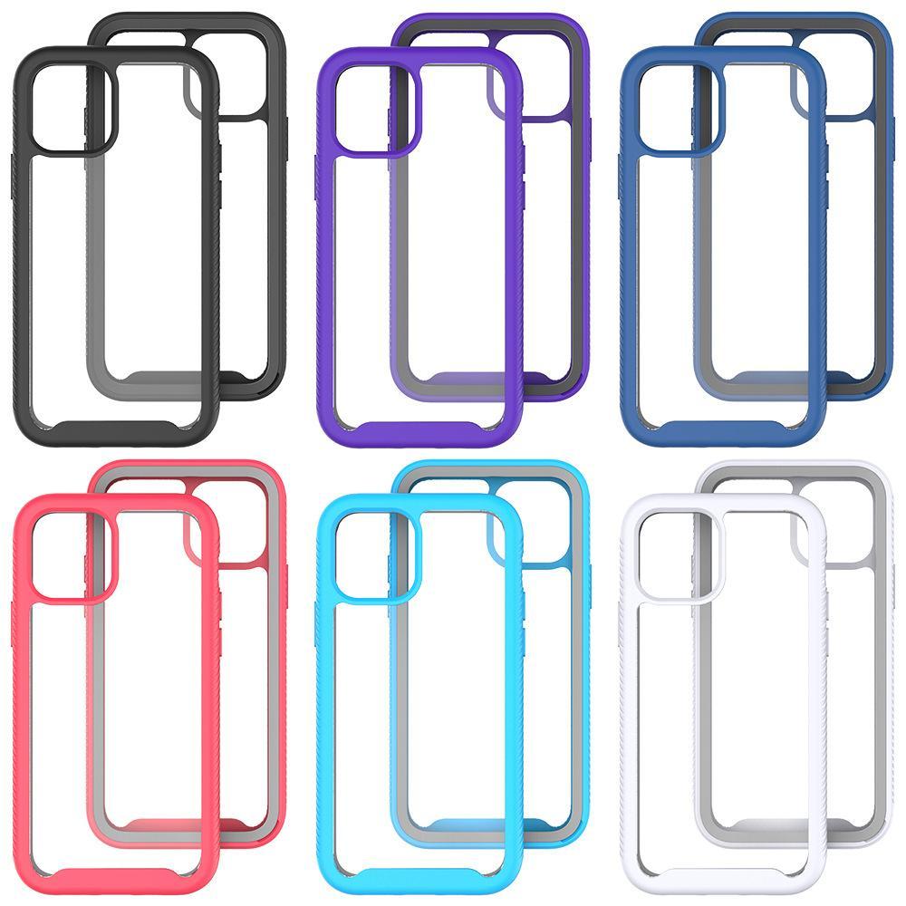 3 в 1 Абодарный прозрачный телефон для iPhone 12 Mini Pro Max 6/7/8 Plus 11 XR XS TPU + чехол для ПК